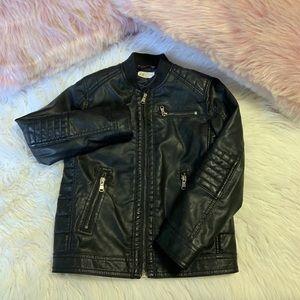 H&M kids black faux leather jacket size 6/7